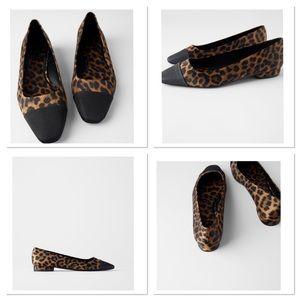 NWT Zara Cap Toe Animal Print Ballet Flats